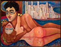 """Título: """"Nahui y el capitán Agacino en Nueva York"""", óleo sobre triplay en cedro, sin fecha. Autora: Nahui OIin. Crédito: Colección Edze Kieft y Gabriel Ruiz Burgos."""